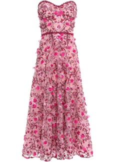 Marchesa Notte Woman Strapless Embellished Tulle Midi Dress Pink