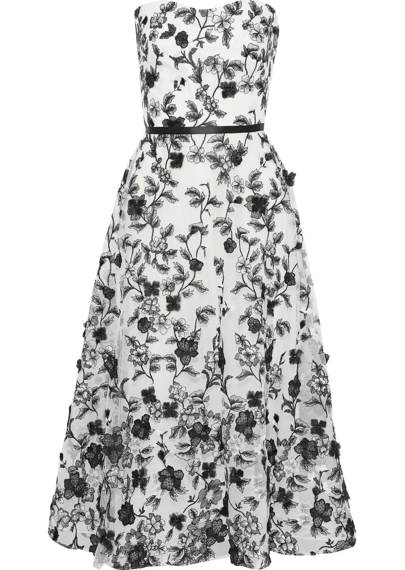 Marchesa Notte Woman Strapless Floral-appliquéd Embroidered Tulle Gown White