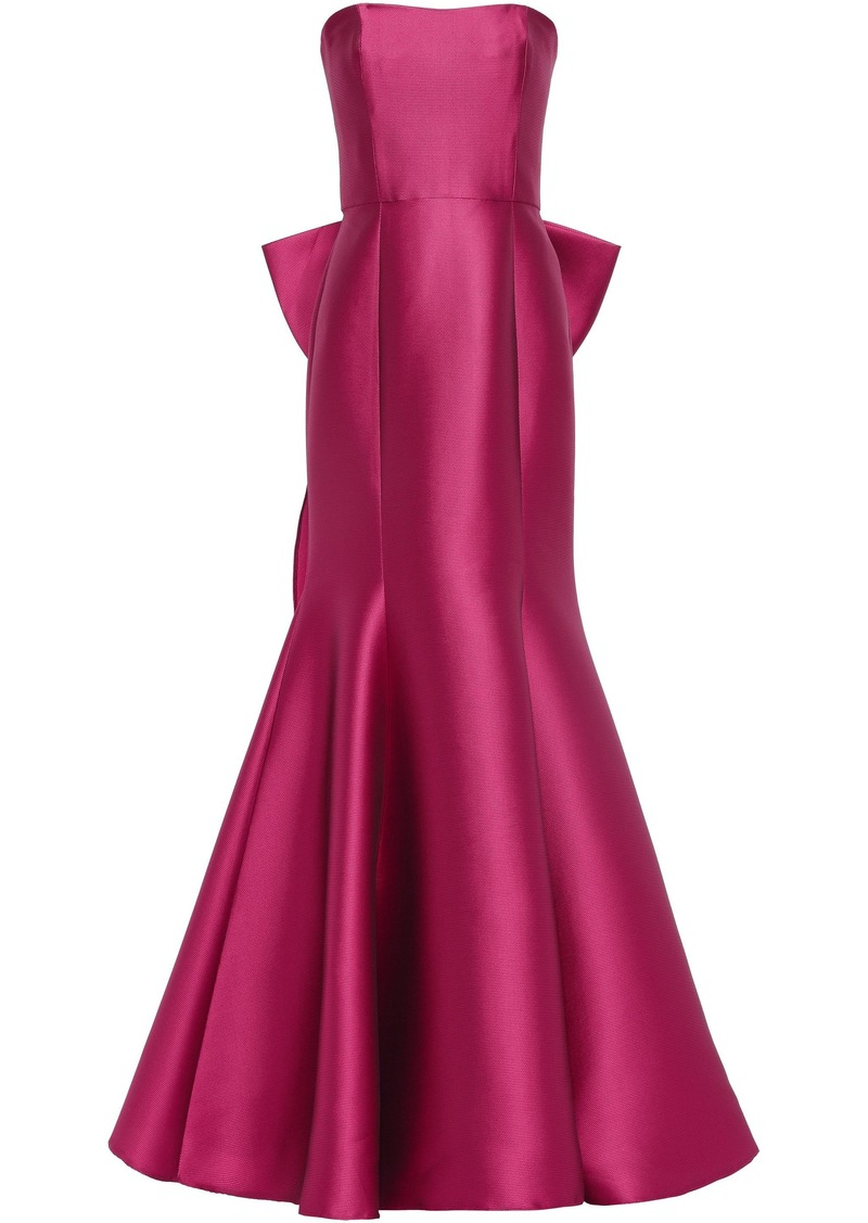 Marchesa Notte Woman Strapless Bow-embellished Satin-piqué Gown Fuchsia