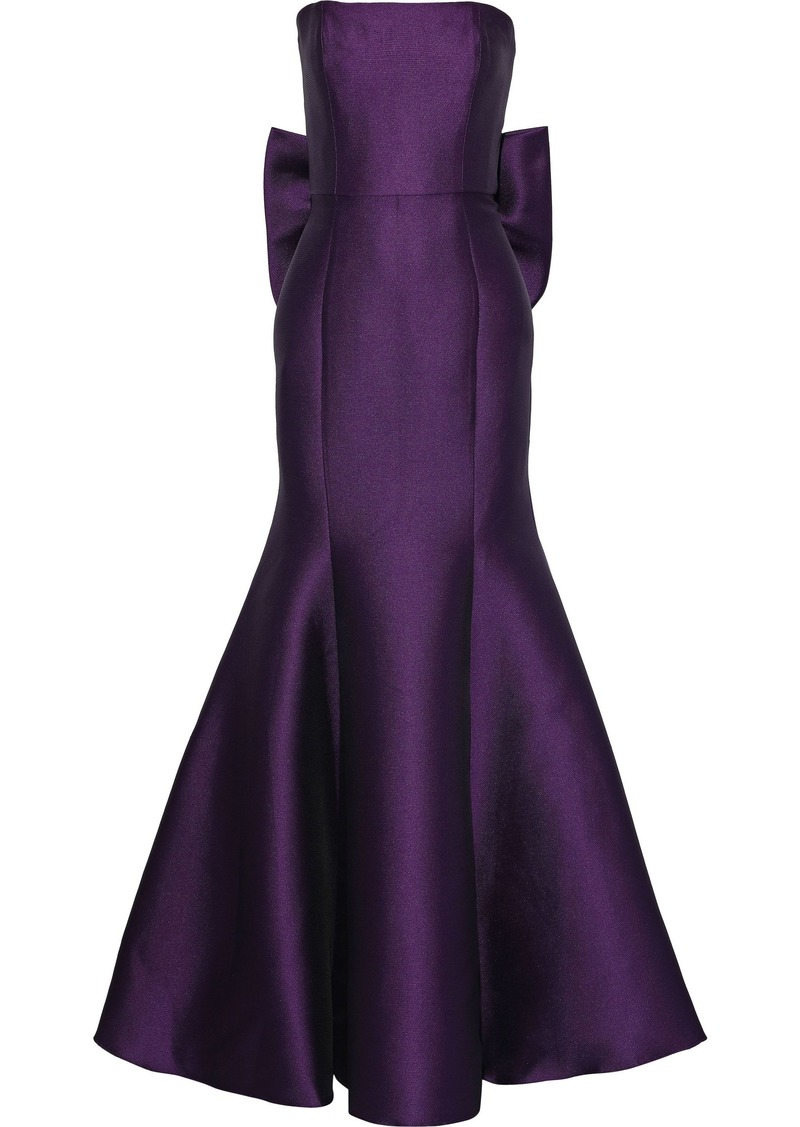 Marchesa Notte Woman Strapless Bow-embellished Satin-piqué Gown Plum