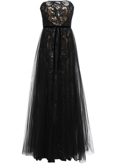 Marchesa Notte Woman Strapless Layered Embellished Tulle Gown Black