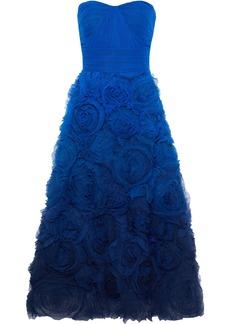 Marchesa Notte Woman Strapless Pleated Dégradé Tulle Gown Royal Blue