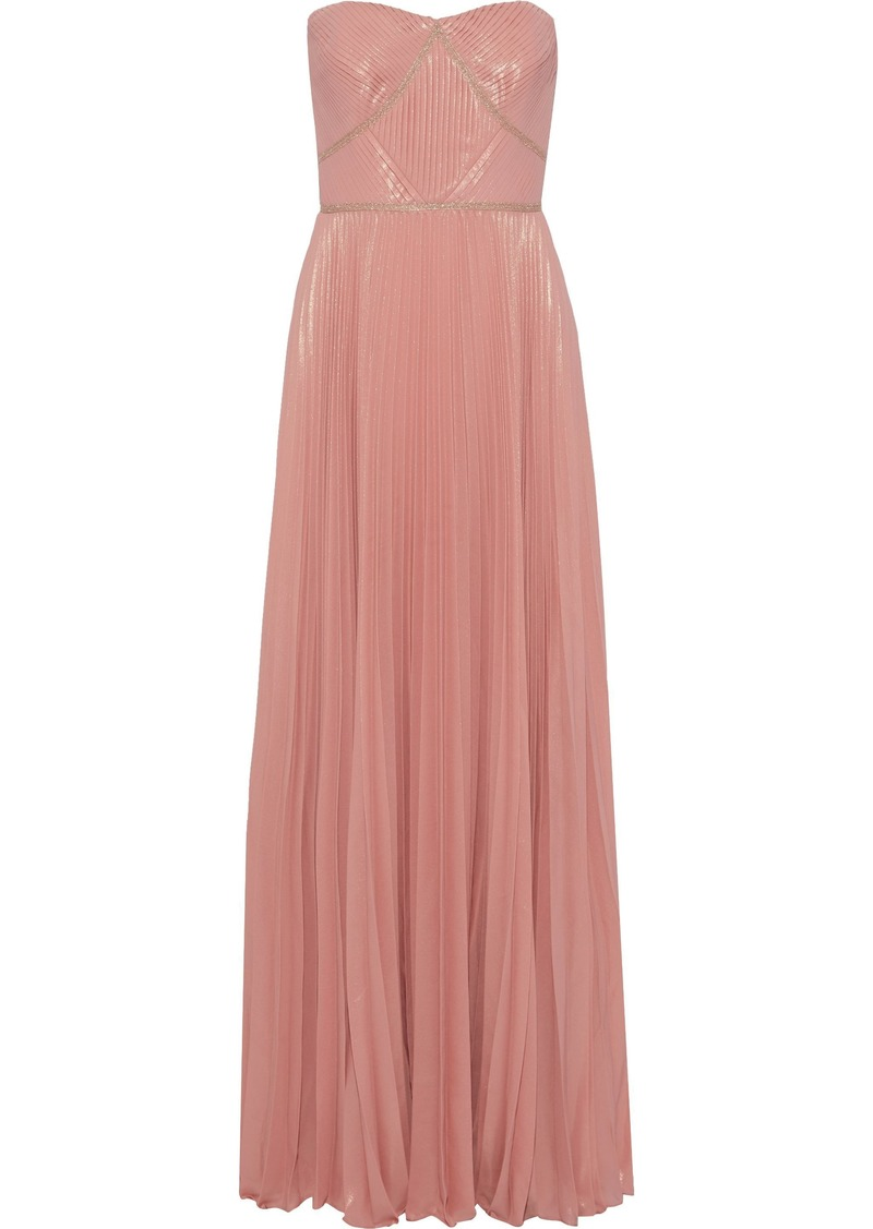 Marchesa Notte Woman Strapless Pleated Metallic Crepe Gown Antique Rose