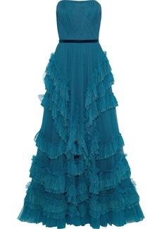 Marchesa Notte Woman Strapless Ruffled Plissé Point D'esprit Gown Cobalt Blue