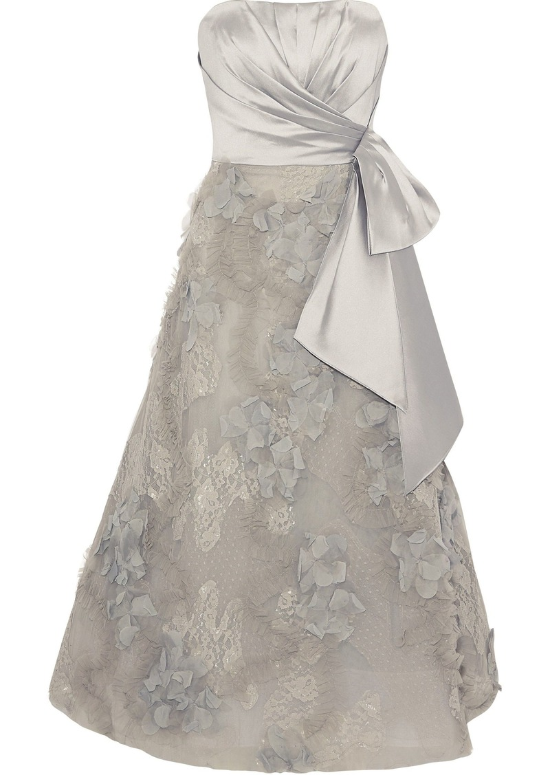 Marchesa Notte Woman Strapless Satin-paneled Embellished Tulle And Lace Midi Dress Stone