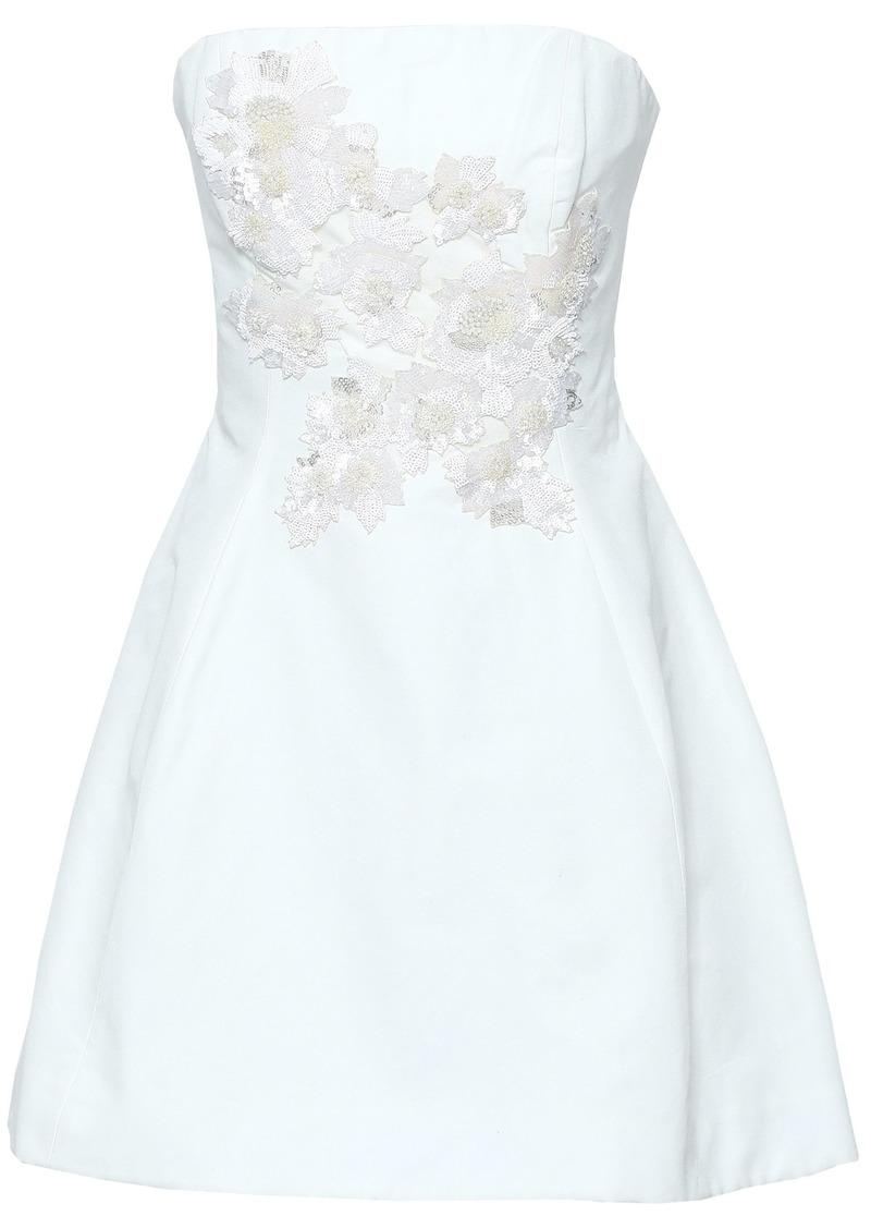 Marchesa Notte Woman Strapless Sequin-embellished Cotton And Silk-blend Mini Dress White