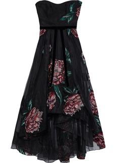 Marchesa Notte Woman Strapless Velvet-trimmed Embroidered Silk-organza Gown Black