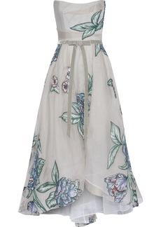 Marchesa Notte Woman Strapless Velvet-trimmed Embroidered Silk-organza Gown Light Gray