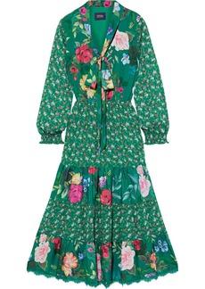 Marchesa Notte Woman Tie-neck Paneled Floral-print Chiffon And Crepe De Chine Midi Dress Emerald