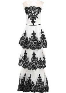 Marchesa Notte Woman Tiered Cutout Embellished Tulle Gown White