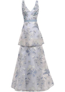 Marchesa Notte Woman Tiered Embellished Metallic Fil Coupé Gown Sky Blue