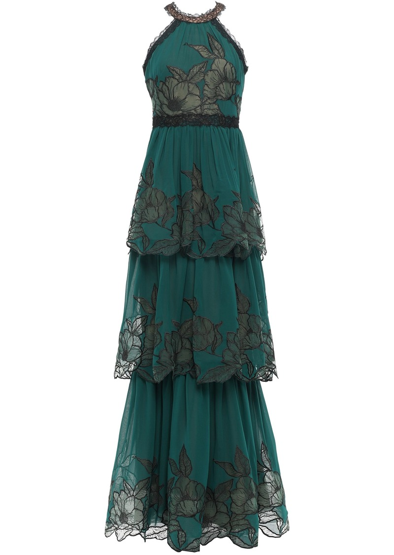 Marchesa Notte Woman Tiered Embroidered Chiffon Gown Forest Green