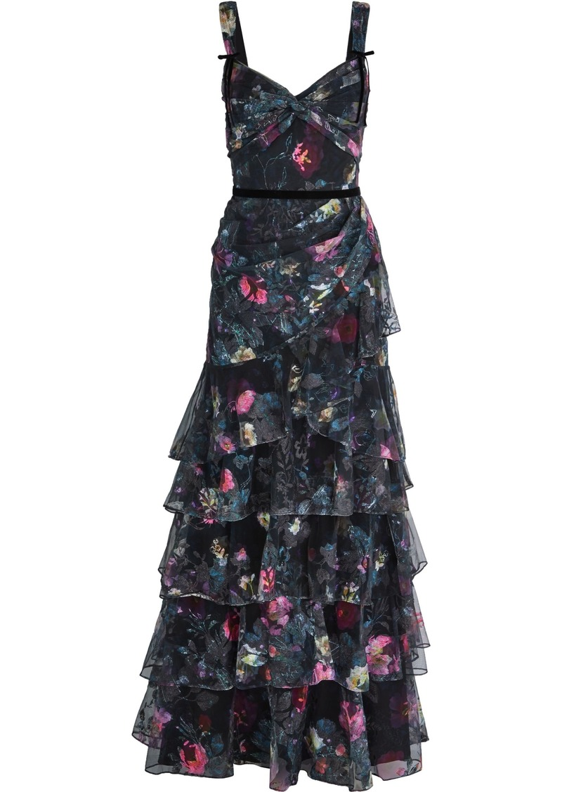 Marchesa Notte Woman Tiered Embroidered Floral-print Tulle Gown Black