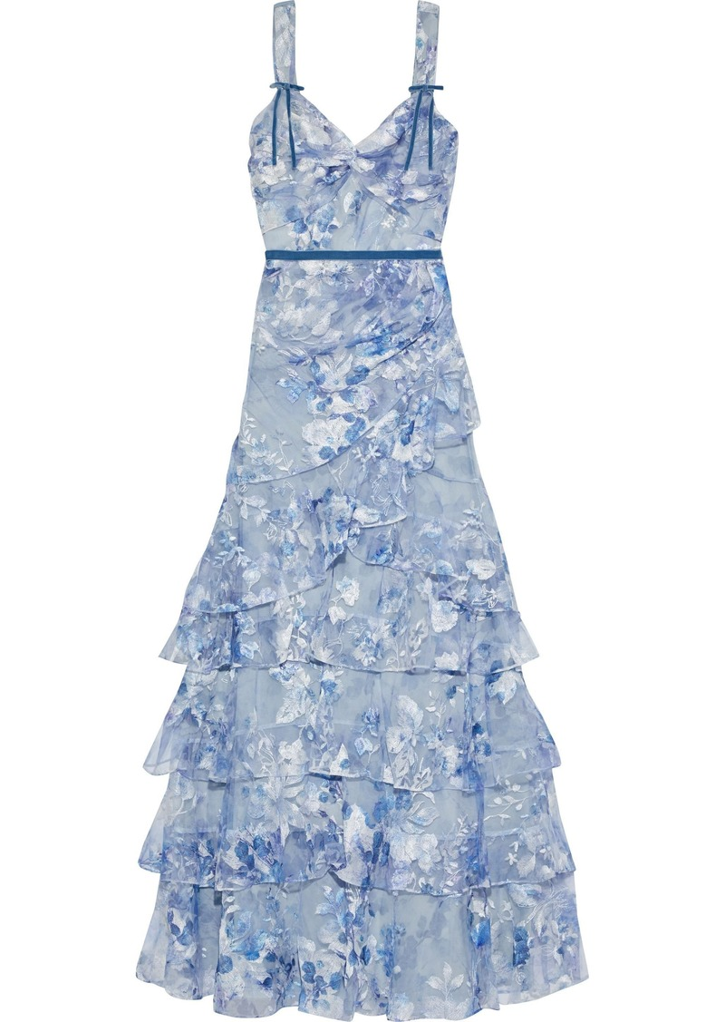 Marchesa Notte Woman Tiered Embroidered Floral-print Tulle Gown Light Blue
