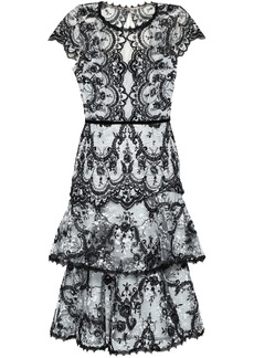 Marchesa Notte Woman Tiered Embroidered Lace Dress Black