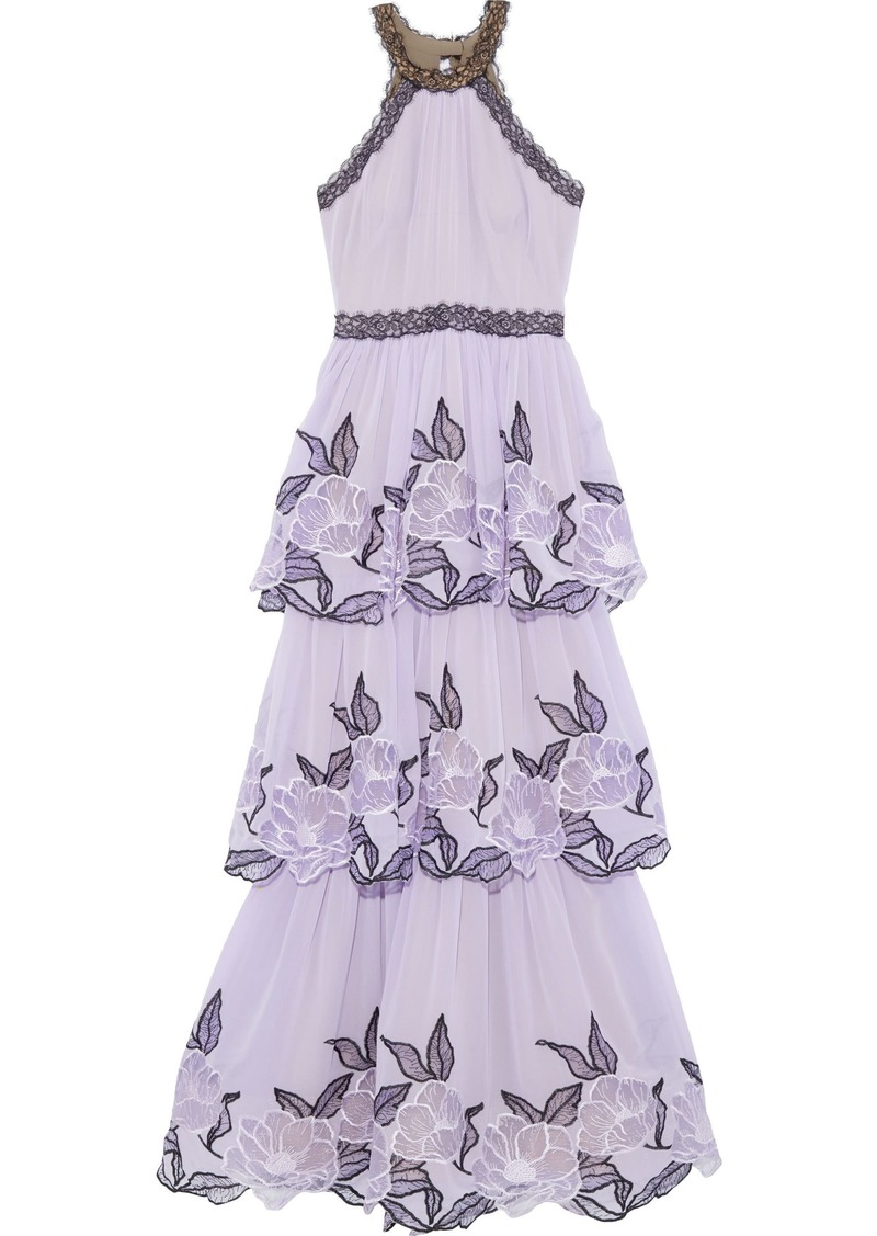 Marchesa Notte Woman Tiered Embroidered Tulle-paneled Chiffon Gown Lavender