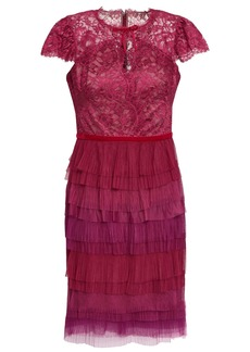 Marchesa Notte Woman Tiered Lace And Plissé-tulle Mini Dress Plum