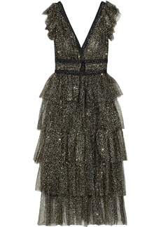 Marchesa Notte Woman Lace-trimmed Tiered Glittered Tulle Midi Dress Black