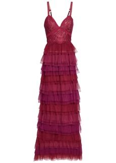 Marchesa Notte Woman Tiered Leavers Lace-paneled Plissé-tulle Gown Magenta