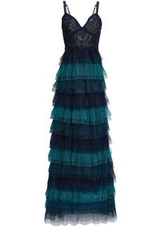 Marchesa Notte Woman Tiered Leavers Lace-paneled Plissé-tulle Gown Storm Blue