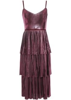 Marchesa Notte Woman Tiered Metallic Plissé-jersey Midi Dress Magenta