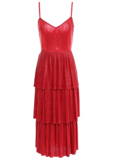 Marchesa Notte Woman Tiered Metallic Plissé-jersey Midi Dress Red