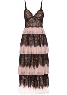 Marchesa Notte Woman Tiered Paneled Lace And Plissé-tulle Midi Dress Blush