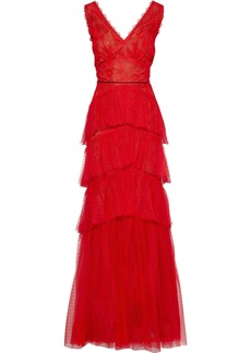 Marchesa Notte Woman Tiered Point D'esprit And Chantilly Lace Gown Red