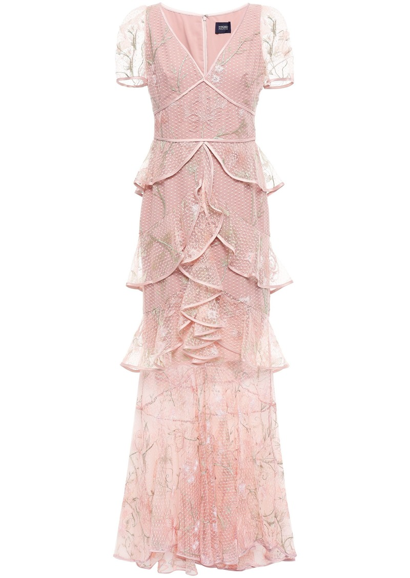 Marchesa Notte Woman Tiered Ruffled Embroidered Tulle Gown Blush