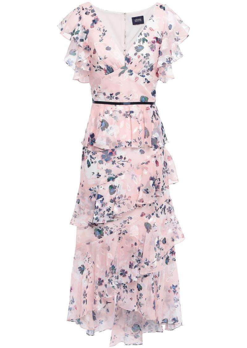 Marchesa Notte Woman Ruffled Satin-trimmed Fil Coupé Gown Blush