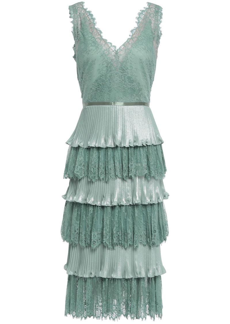 Marchesa Notte Woman Tiered Satin-trimmed Plissé-lamé And Lace Dress Teal