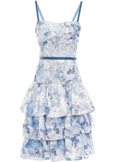 Marchesa Notte Woman Tiered Velvet-trimmed Fil Coupé Organza Dress Sky Blue