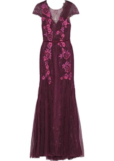 Marchesa Notte Woman Tulle-paneled Embellished Chantilly Lace Gown Plum