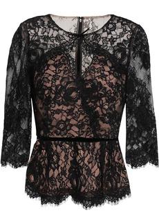 Marchesa Notte Woman Velvet-trimmed Leavers Lace Peplum Top Black