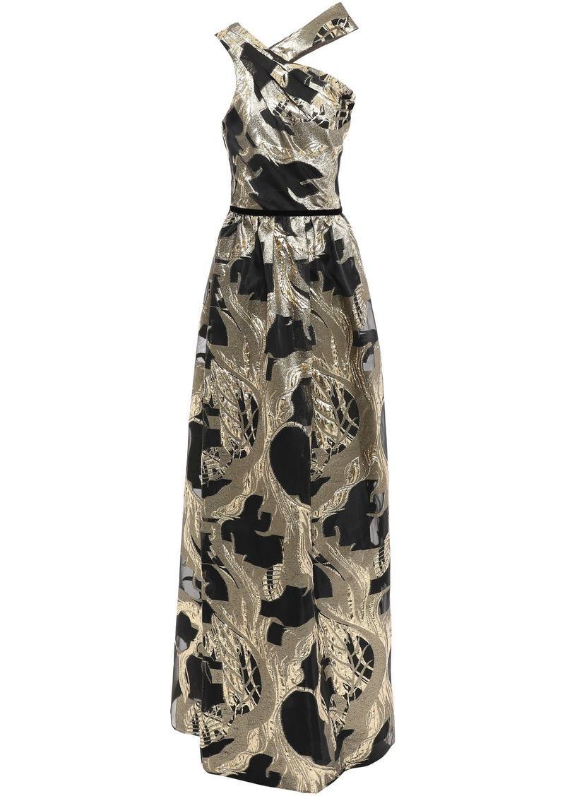 Marchesa Notte Woman Velvet-trimmed Metallic Fil Coupé Organza Gown Gold