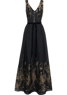 Marchesa Notte Woman Pleated Bow-embellished Metallic Fil Coupé Cloqué Gown Black