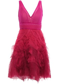 Marchesa Notte Woman Velvet-trimmed Pleated Tulle Mini Dress Fuchsia