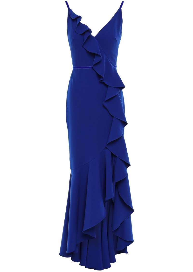 Marchesa Notte Woman Velvet-trimmed Ruffled Cady Gown Royal Blue
