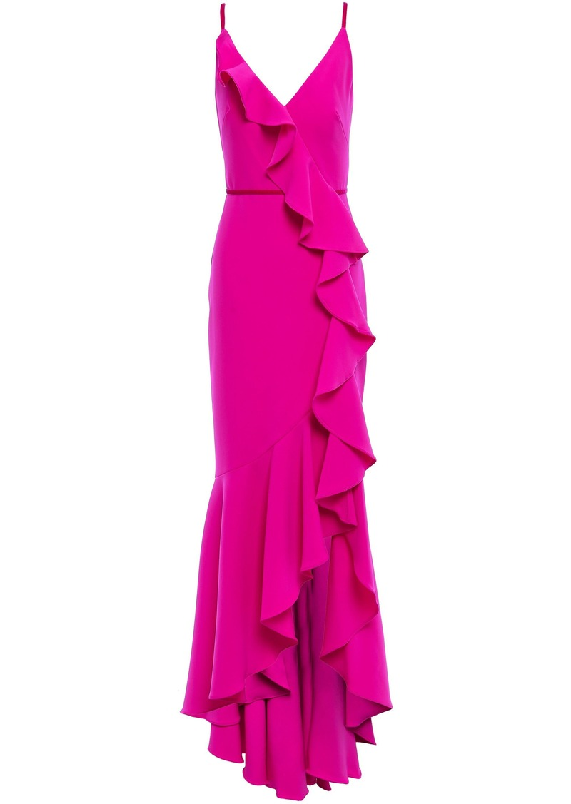 Marchesa Notte Woman Velvet-trimmed Ruffled Cady Gown Bright Pink