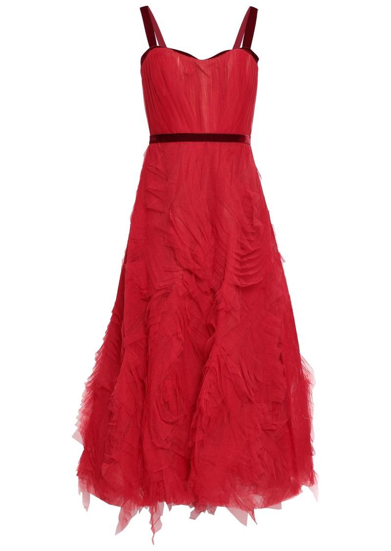 Marchesa Notte Woman Velvet-trimmed Ruffled Tulle Maxi Dress Crimson