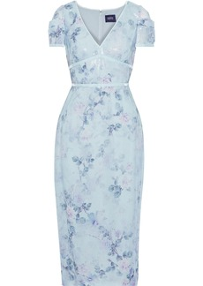 Marchesa Notte Woman Velvet-trimmed Sequined Floral-print Chiffon Midi Dress Sky Blue
