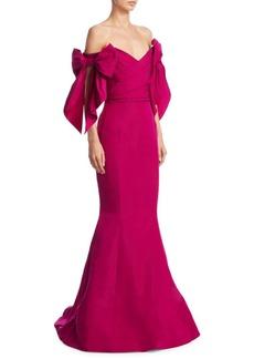Marchesa Off-Shoulder Trumpet Gown