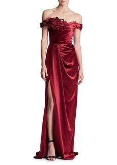 Marchesa Off-the-Shoulder Draped Velvet Column Evening Gown