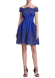 Marchesa Off-the-Shoulder Metallic Laser-Cut Fit-and-Flare Cocktail Dress
