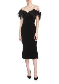 Marchesa Off-the-Shoulder Velvet Cocktail Dress with Ostrich Feathers