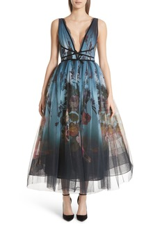 Marchesa Ombré Floral Print Tulle Tea Length Dress