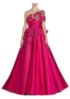 Marchesa One-Shoulder Satin Gown