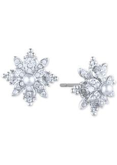 Marchesa Pave & Imitation Pearl Flower Stud Earrings