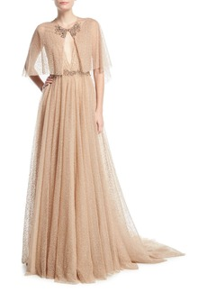 Marchesa Plunging Evening Ball Gown with Beaded Waist and Cape