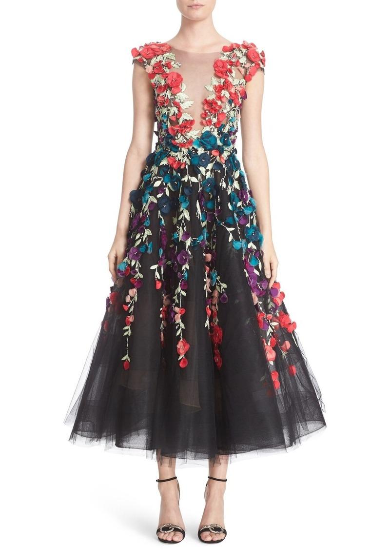 2f2683d8886 Marchesa Marchesa Plunging V-Neck 3D Embellished Tulle Midi Dress